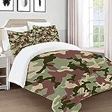 621 bebildertes Grün Camouflage in Waldfarben Jäger-Kampf, Bettbezug, Mikrofaser, 220 x 240 cm, mit 2 Kissenbezügen 50 x 80 cm