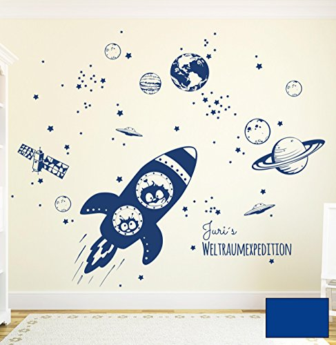 Wandtattoo Wandaufkleber Rakete Raumschiff mit Yuri und Neil im Weltall Weltraum M1653 - ausgewählte Farbe: *Blau* - ausgewählte Größe: *L - 120cm breit x 100cm hoch*