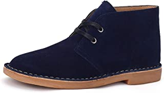JIANFEI LIANG Oxfords for Men Desert Chukka Boots Suede Leather Upper Classic Shoes Lace up Wear Resistant Oxford (Color : Blue, Size : 43 EU)