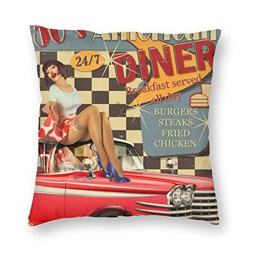 Funny Z American Diner Poster mit Retro Auto und Pin-Up Girl 18 x 18 Zoll Kissenbezug mit dekorativem Kissenbezug für Couch, Auto, Schlafzimmer und Sofas