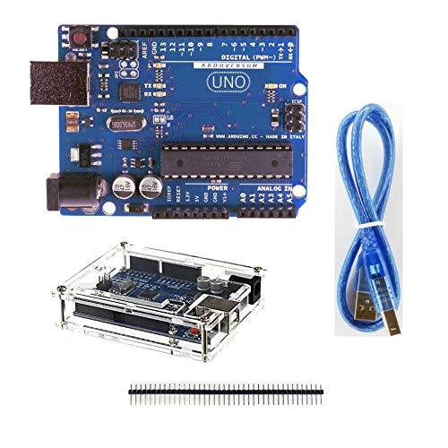 ARDUVERSUM Arduino UNO R3 ATmega328P DIP version with 40 pin Straight Header + 30cm USB A+B Cable + Acryl Box