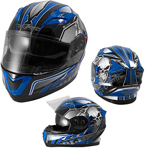 A-PRO SRL Integralhelm Motorradhelm Rollerhelm Sonnenblende Helm ECE 22-05 Homologiert Blau XS