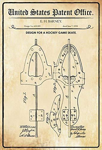 NWFS patent ontwerp voor een hockey - schaats metalen bord bord metalen bord metalen plaat plaat Metal Tin Sign gewelfd gelakt 20 x 30 cm