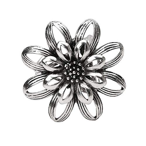 SOQNVLN Brooch Pins for Women, Vintage Flower Shawl 3 Rings Buckle Scarf Clip Brooch Pin Jewelry Gift (Silver)