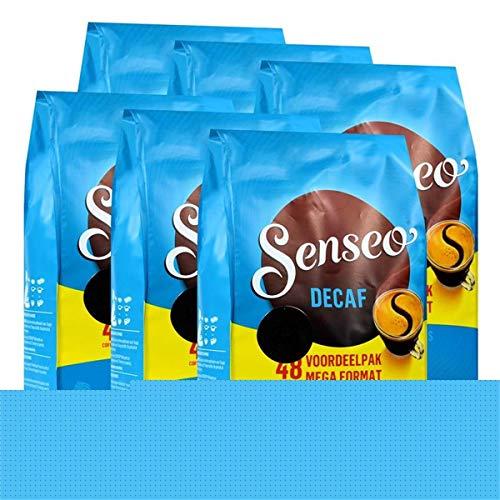 Senseo Kaffeepads Décafé / Entkoffeiniert, Reiches Aroma, Intensiv & Ausgewogen, Kaffee, neues Design, 6er Pack, 6 x 48 Pads