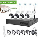 720P 4 Kanal Funk Überwachungsset, Aottom 4CH 1080P NVR mit 4 x Drahtlos 1MP IP Überwachungskamera Set, für Home Surveillance, Motion Detection, Nachtsicht, Remote-Aufnahme, Plug and Play, Keine HDD