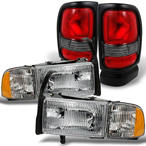 For 1994-2002 Dodge Ram Headlights w/Corner Lights Pair Set Replacement + Red Clear Tail Lights Combo Sets