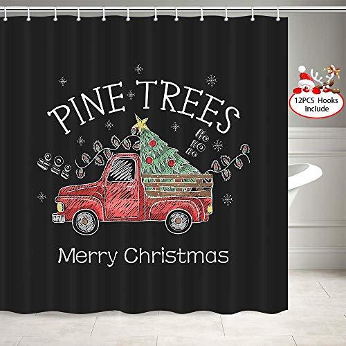 EdCott Weihnachten LKW rot abholen und Kiefer Muster auf Weihnachtsbaum Dekoration Raumdekoration nach Hause leicht zu Duschvorhang für Badezimmer Badezimmer Hotel Vorhang zu reinigen
