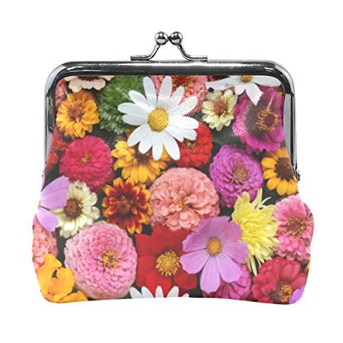 Monedero de flor de planta para mujeres y niñas, bolsa con hebilla, bolso de dinero, monedero retro, pequeño portamonedas, tarjetero