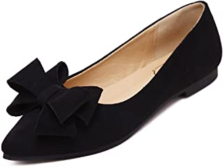 Women's Comfortable Bow Point Toe Flat Pumps Slip On Shoes