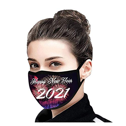 LWWOG Adult New Year's Day 2021 Printed Dust-proof Washable Cotton facecovering