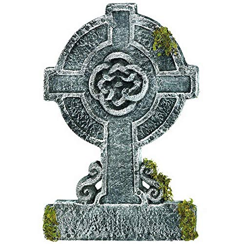Amscan Creepy Cemetery Halloween Party Mossy Celtic Cross Tombstone Decoration, Foam, 22' Party Supplies