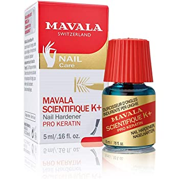 Mavala Scientifique K+ Keratin Nail Hardener and Nail Strengthener, Nail Care Polish for Nail Growth, Prevents Breakage and Split Nails, For Use with Nail Polish, Manicure Tools