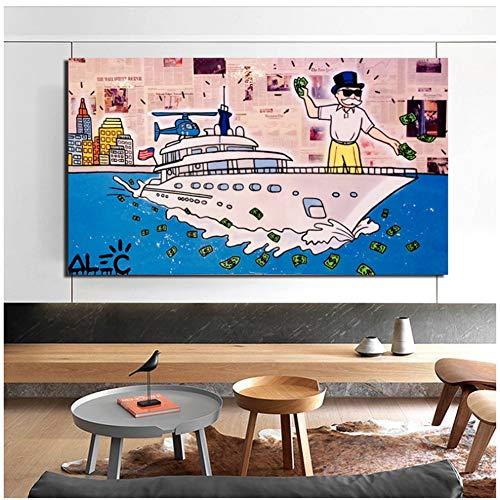 Alec Monopoly Wolf Of Wall Street lienzo pintura impresiones sala de estar decoración del hogar moderno arte de la pared pintura cartel imagen -60x100cm sin marco