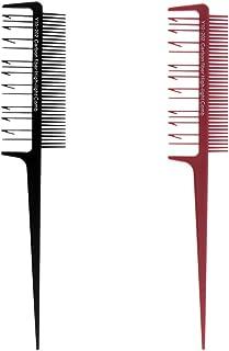 Baosity 2本 ヘアコーム ハイライト ヘアブラシ 櫛 染色櫛 ダブルサイド ヘアカラー ローライト カラーリング