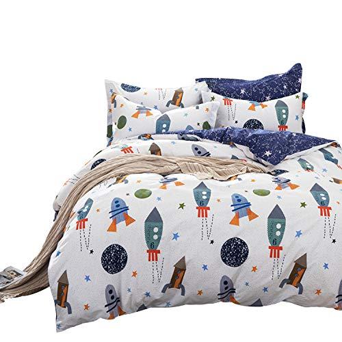 Brandream Boys Galaxy Space Bedding Set Twin Size Kids Bedding Set 100% Cotton (Duvet Cover + Flat Sheet + Pillowcase)
