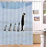 LB Duschvorhang & Haken Set,Kaiserpinguine & kleine Pinguine,die auf EIS gehen,59