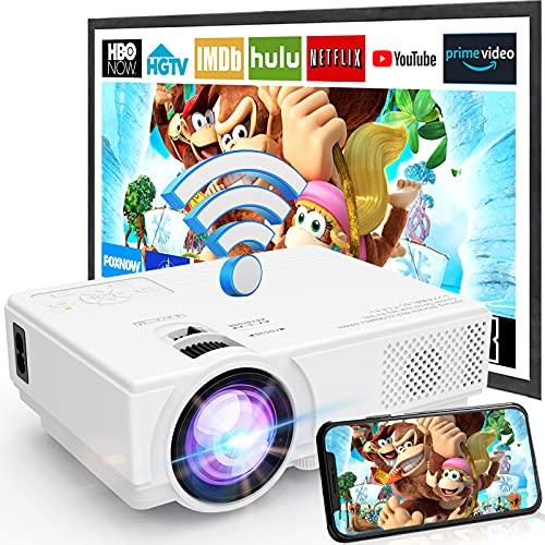 Projecteur WiFi M8-TPA 1080P Full HD Supportée, Mini Rétroprojecteur 6500L, Projecteur Portable Compatible avec Smartphone, Tablette,...