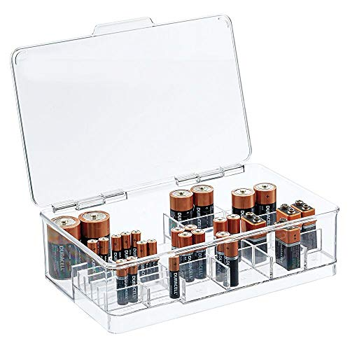 mDesign Stackable Divided Battery Storage Organizer Box Bin with Hinged Lid for AA, AAA, C, D, 9 Volt Sizes - Great Storage for Kitchens, Home Offices, and Utility Rooms - Clear