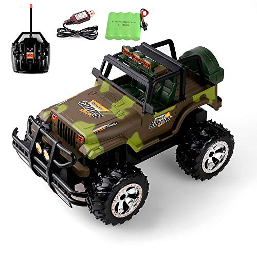 1:16 Scale RC Jeep Trucks, 2020 Updated Remote Control Car 2.4Ghz Off Road Monster Military Camouflage Jeep Truck for Boys Girls Teens with Rechargeable Batteries