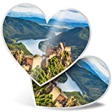 Impresionante 2 pegatinas de corazón de 7,5 cm – Aggstein Castle Danubio Austria Fun calcomanías para portátiles, tabletas, equipaje, libros de chatarra, frigorífico, regalo genial #21119