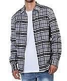 JIGGYS SHOP チェックシャツ メンズ シャツ 長袖 ネルシャツ カジュアル 秋冬 コットン S グレー×ブラック