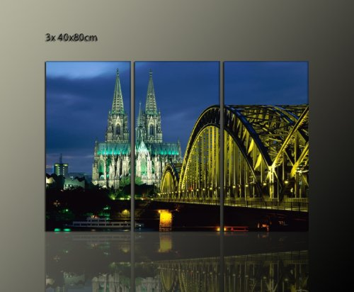 DOMBILD 3 teiliges Wandbild auf Leinwand gerahmt (Cologne Cathedral 3x40x80) Städtebild Köln Bilder fertig gerahmt auf Keilrahmen xxl. Kunstdruck auf Leinwand. Günstig inkl Rahmung