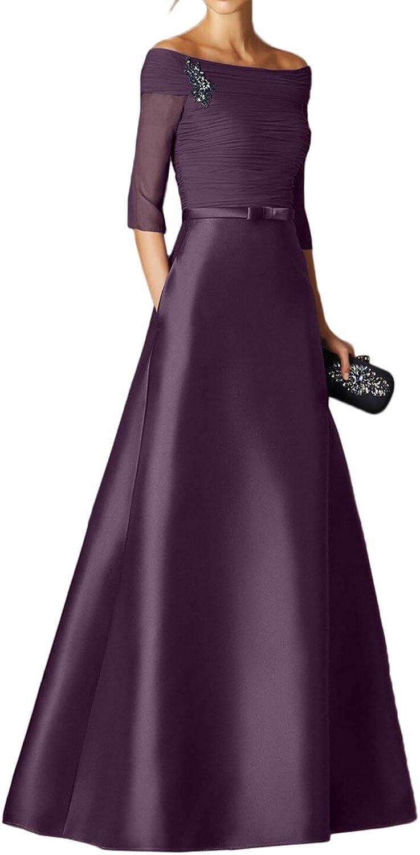 MILANO BRIDE Women's Evening Prom Dress Modest Bateau 1 2 Sleeves Pleated Satin