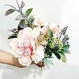 WOONN Ramo de rosas de peonía artificial de seda de flores de hortensias rosas de plástico falsas flores para decoración del hogar, boda, mesa de centro de mesa, rosa, 2 unidades