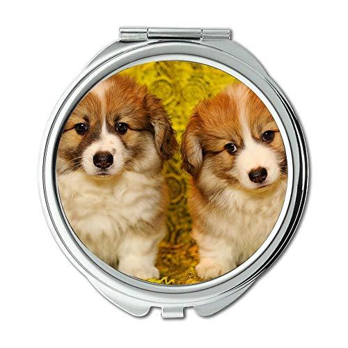 Specchio, specchio compatto, cuccioli The Pembroke Welsh Corgi Pet Darling, Pocket Mirror, specchio portatile