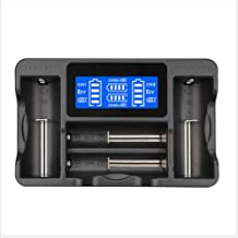 4 Bay Led Battery Charger with USB Port and Cable for Rechargeable Batteries: Li-ion 18650 26650 14500, Ni-MH A AA AAA C, etc