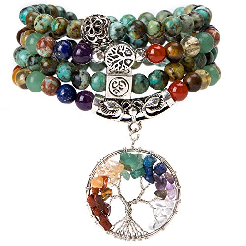 Bivei 108 Mala Beads Bracelet - 7 Chakra Tree of Life Real Healing Gemstone Yoga Meditation Mala Prayer Bead Necklace(African Turquoise)