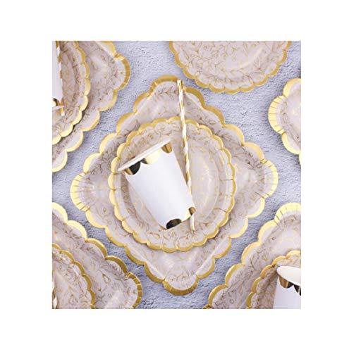 Papieren platen Wegwerp Platen Party Platen Platen Bekers Bowls Vorken Diner Camping Eco Wegwerp Papier Plaat Picknick Plaat Party Hot Stempelen Dessert Tafel Verjaardag 6 Personen