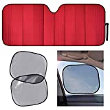 Motor Trend AS-311+SS-002 Red Front Windshield Sun...