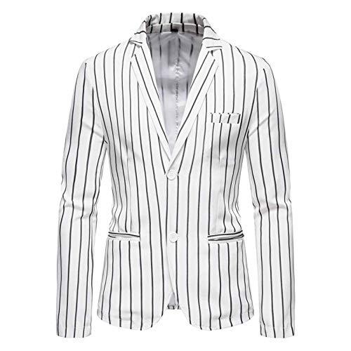 Chyoieya Chaquetas de traje de los hombres de rayas verticales negras blancas Casual Slim Blazer abrigo solo pecho solapa cuello Blazers