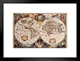 Poster Foundry World Map 17th Century Antique Vintage Historic Educational Classroom Globe Projection