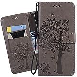 Ougger Handyhülle für LG K40 Tasche Schutzhülle Weich Tasche Magnet Bumper TPU Silikon Beutel Cover Leder Hülle für LG K40 mit Visitenkartenhüllen, Katze und Baum (Grau)