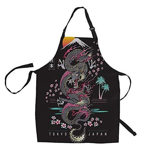 SOPARLLY Delantales de dragón japonés, diseño abstracto con flor de cerezo con delantales de estilo japonés, decoraciones de cocina, lazos ajustables en la cintura, delantal para cocinar 61 x 76 cm