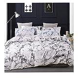 KTMAID Ropa de cama de mármol blanco y gris, funda de edredón transpirable de doble cara impresa de algodón con cremallera, sensación de lujo, funda de edredón (220 x 240 cm)