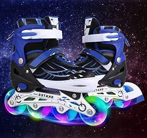 Hesyovy Leucht PU Räder Inline-Skates, Rollerblades für Kinder, größenverstellbar von 31 bis 42, ideal für Anfänger, komfortable Rollschuhe, Inliner für Mädchen und Jungen (Blau, EU 39-42)