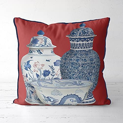 Chinoiserie, federa per cuscino decorativo rosso, decorazione orientale, cuscino asiatico, decorazione cinese per casa, vaso trio rustico, decorazione rustica, per divano