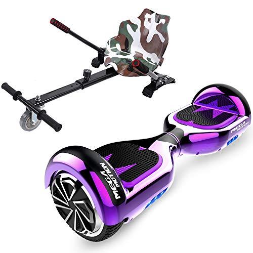 HITWAY 6.5� Patinete Eléctrico con Silla, Hoverboards Bluetooth, Scooter Eléctrico Asiento kart, Self Balancing Scooter Potente Motor con Indicador LED, Regalo para Niños