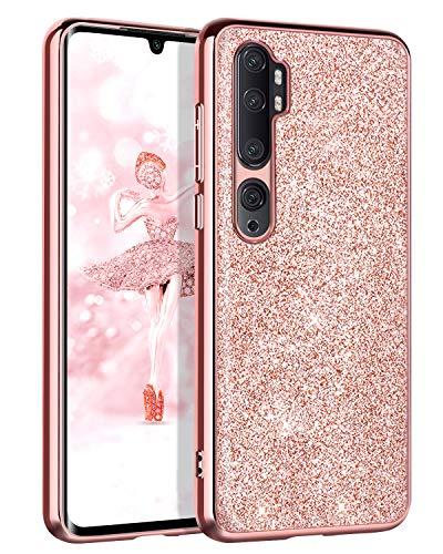 BENTOBEN Funda Xiaomi Mi Note 10, Carcasa Xiaomi Mi Note 10 Pro Purpurina Cover Ultra Delgada Brillante Resistente Silicona PC Protectora AntiGolpes para Xiaomi Mi Note 10/Note 10 Pro 6.47''-Oro Rosa