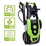 PowRyte Professional Electric Washer Machine with 4000 PSI 3.0 GPM, Powerful Cleaner with 5Pcs Quick-Connect Spray Tips, Electric Pressure Washer with Built-in Soap Bottle and Hose Reel