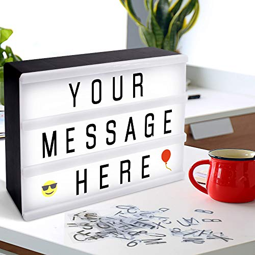 "Cinema Light Box, Taillansin Cinematic Light Box,Marquee Light Box LED Light Message Board with 90 Letters, Numbers, Symbols & Emojis for Home Shop Decor, Birthday Party, Wedding (7.9""x5.9""x2"")"