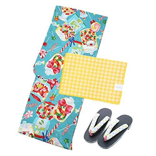[ KIMONOMACHI ] 浴衣セット 3点セット(浴衣、帯、下駄) レディース「ポップキャンディー」LLサイズ