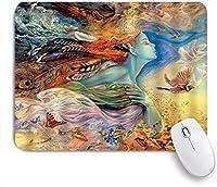 ZOMOY マウスパッド 個性的 おしゃれ 柔軟 かわいい ゴム製裏面 ゲーミングマウスパッド PC ノートパソコン オフィス用 デスクマット 滑り止め 耐久性が良い おもしろいパターン (カラフルな女性ファンタジー人魚水彩孔雀の羽蝶エルフ油絵アート海の波)