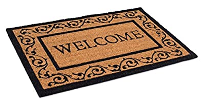 BIRDROCK HOME Welcome Coir Doormat with Scroll Border - 24 x 36 Inch - Oversized Welcome Mat with Black Border and Natural Fade - Vinyl Backed - Outdoor