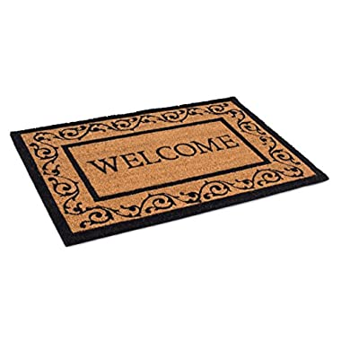 BirdRock Home Welcome Coir Doormat with Scroll Border | 24 x 36 Inch | Oversized Welcome Mat with Black Border and Natural Fade | Vinyl Backed | Outdoor
