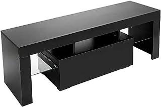 Lwieui Mesas para TV Elegante decoración del hogar LED Gabinete de TV con un Solo cajón Negro (Color : Black, Size : 130x3...